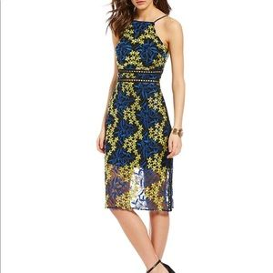 Blue & Yellow Floral Embroidered Midi Dress